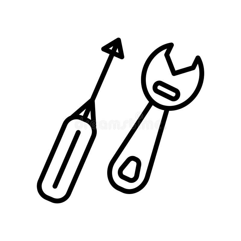 Вектор значка инструментов изолированный на белой предпосылке, инструментах подписывает, линейные символ и элементы дизайна хода  иллюстрация штока
