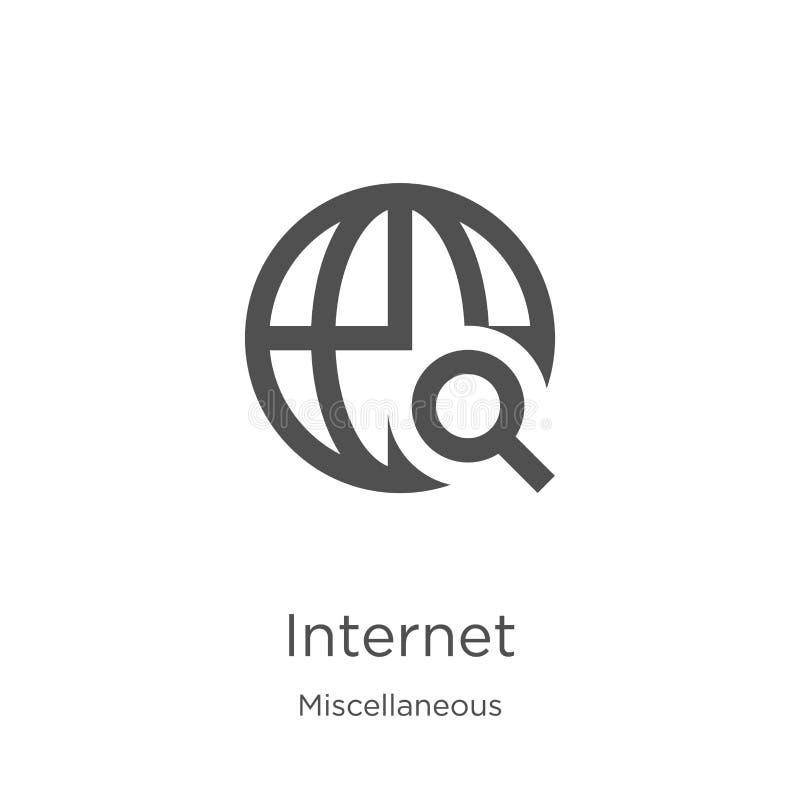 вектор значка интернета от разностороннего собрания Тонкая линия иллюстрация вектора значка плана интернета План, тонкая линия иллюстрация вектора