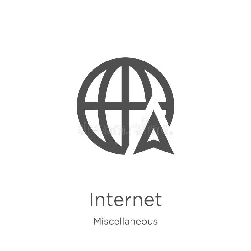 вектор значка интернета от разностороннего собрания Тонкая линия иллюстрация вектора значка плана интернета План, тонкая линия иллюстрация штока