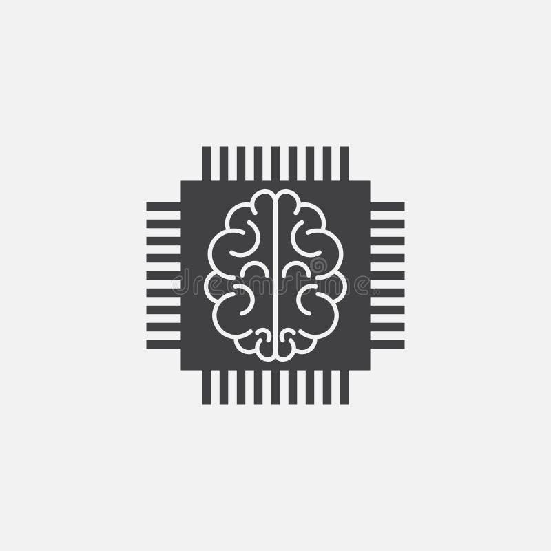 Вектор значка искусственного интеллекта, откалывает твердую иллюстрацию логотипа бесплатная иллюстрация