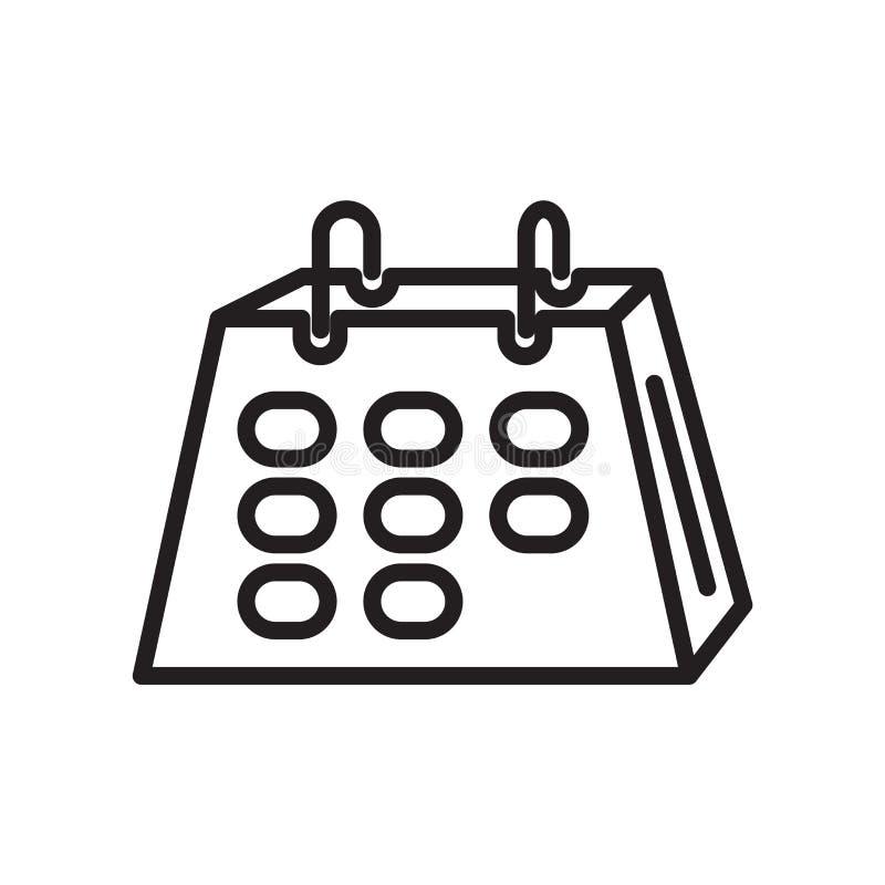 Вектор значка календаря изолированный на белой предпосылке, знаке календаря, линейном символе и элементах дизайна хода в стиле пл иллюстрация вектора