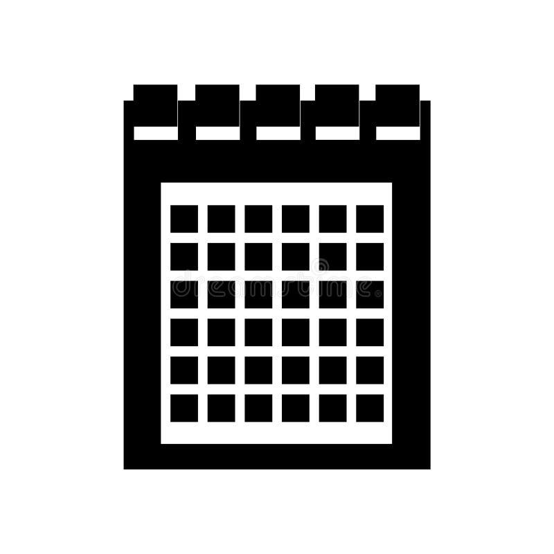 Вектор значка календаря изолированный на белой предпосылке, знаке календаря, черных символах времени иллюстрация вектора