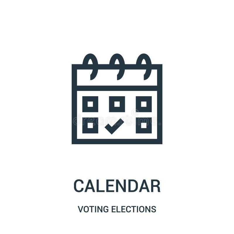 вектор значка календаря от голосуя собрания избраний Тонкая линия иллюстрация вектора значка плана календаря иллюстрация вектора