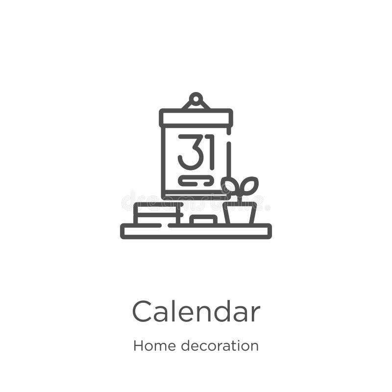вектор значка календаря от домашнего собрания украшения Тонкая линия иллюстрация вектора значка плана календаря План, тонкая лини иллюстрация вектора