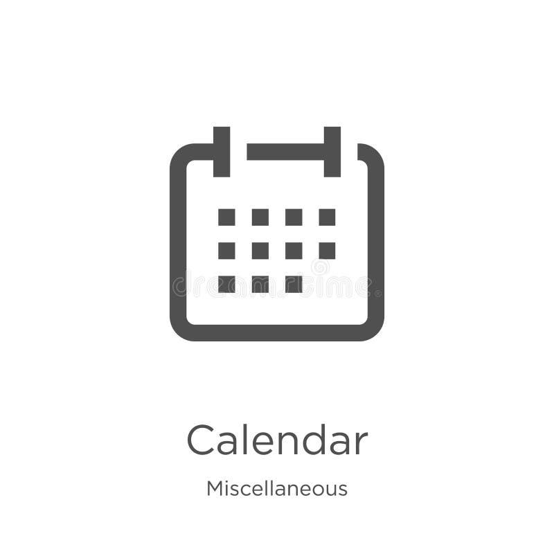 вектор значка календаря от разностороннего собрания Тонкая линия иллюстрация вектора значка плана календаря План, тонкая линия иллюстрация вектора