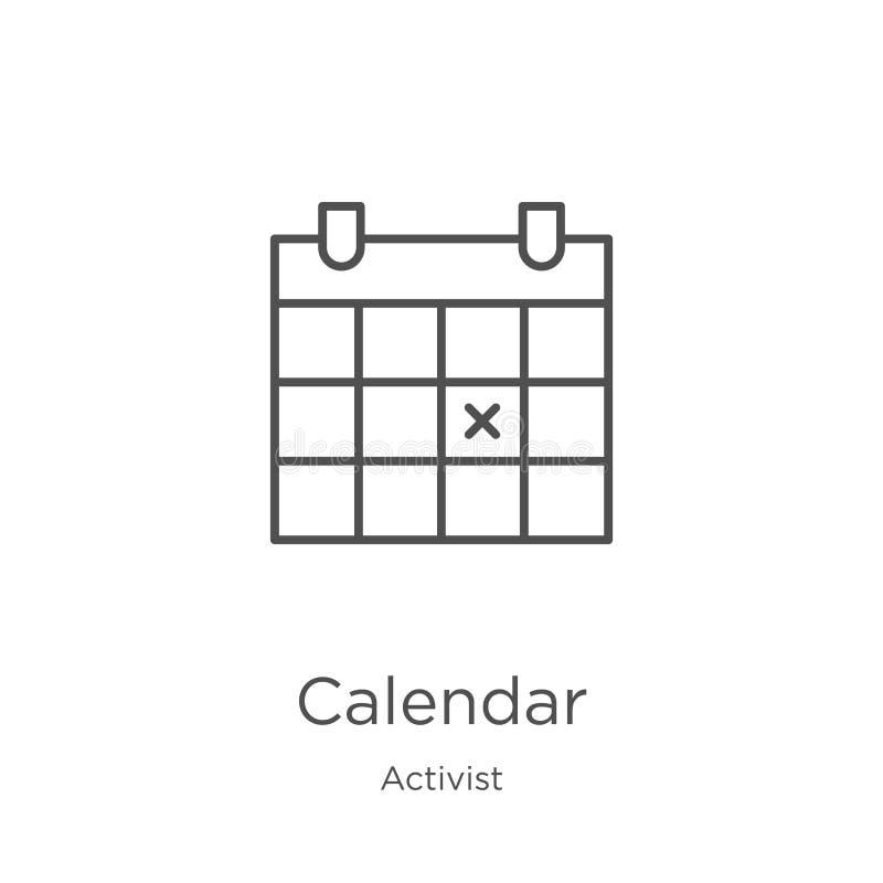 вектор значка календаря от собрания активиста Тонкая линия иллюстрация вектора значка плана календаря План, тонкая линия календар бесплатная иллюстрация