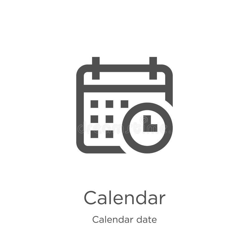 вектор значка календаря от собрания даты календаря Тонкая линия иллюстрация вектора значка плана календаря План, тонкая линия иллюстрация штока