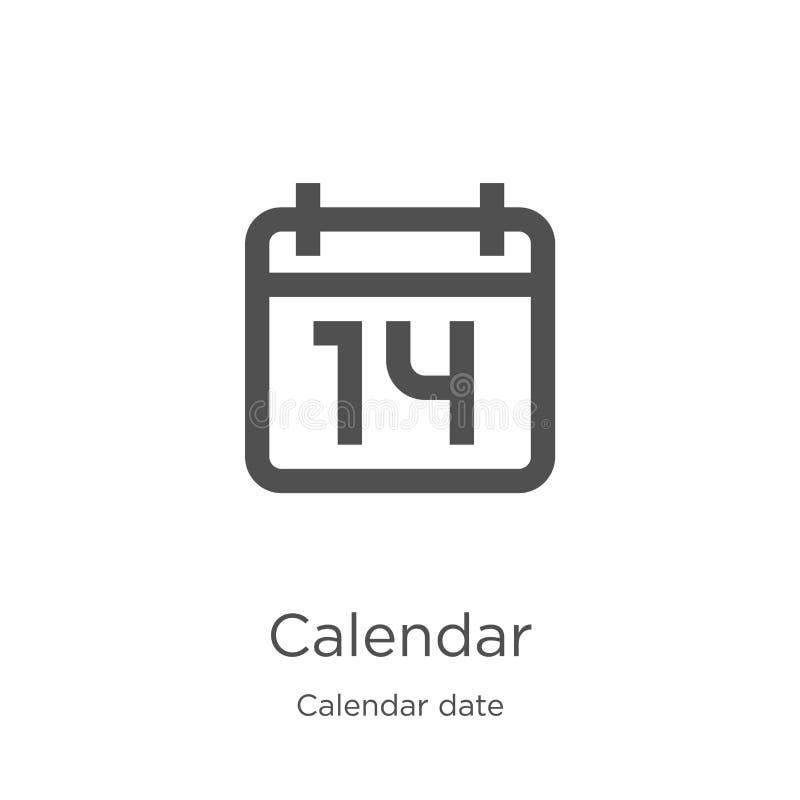 вектор значка календаря от собрания даты календаря Тонкая линия иллюстрация вектора значка плана календаря План, тонкая линия иллюстрация вектора
