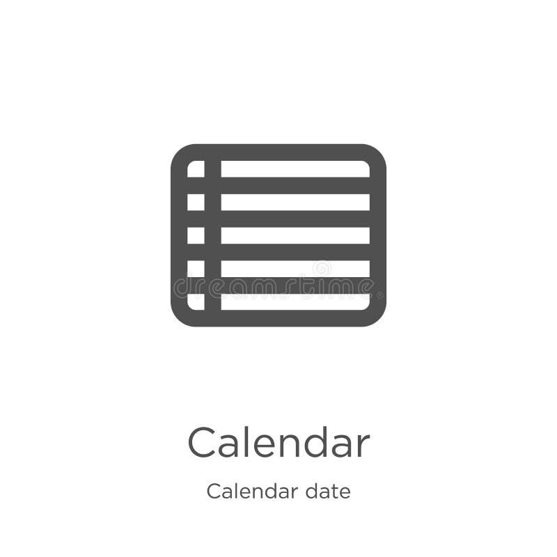 вектор значка календаря от собрания даты календаря Тонкая линия иллюстрация вектора значка плана календаря План, тонкая линия бесплатная иллюстрация