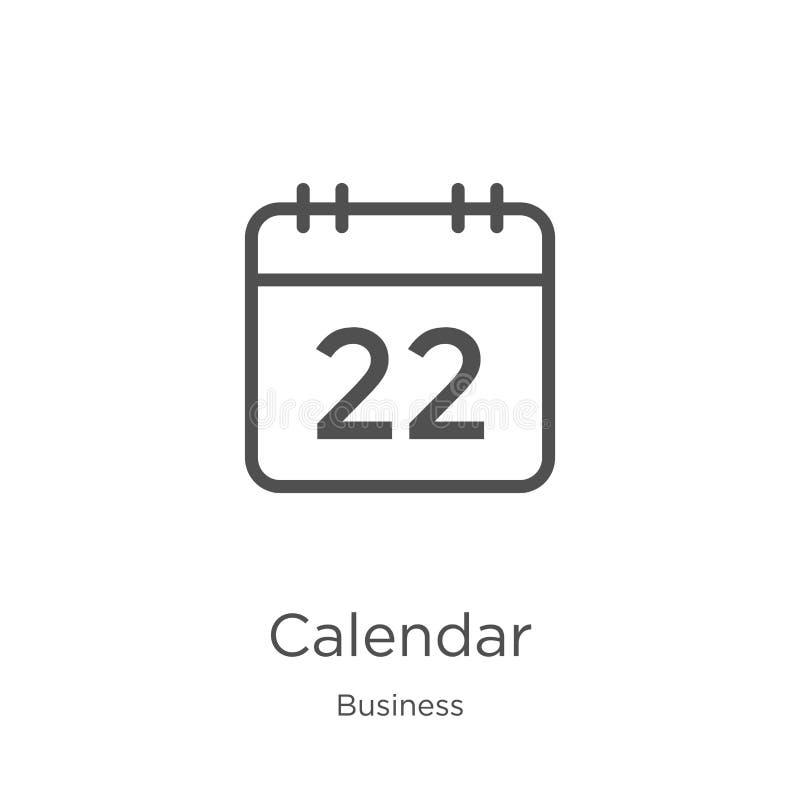 вектор значка календаря от собрания дела Тонкая линия иллюстрация вектора значка плана календаря План, тонкая линия календарь иллюстрация штока