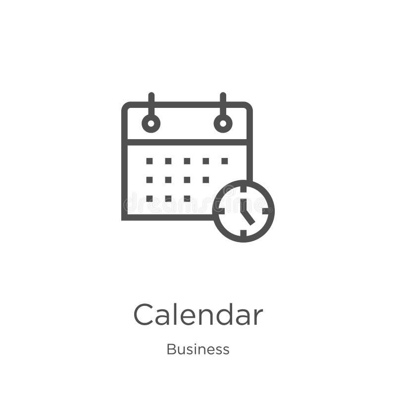 вектор значка календаря от собрания дела Тонкая линия иллюстрация вектора значка плана календаря План, тонкая линия календарь иллюстрация вектора