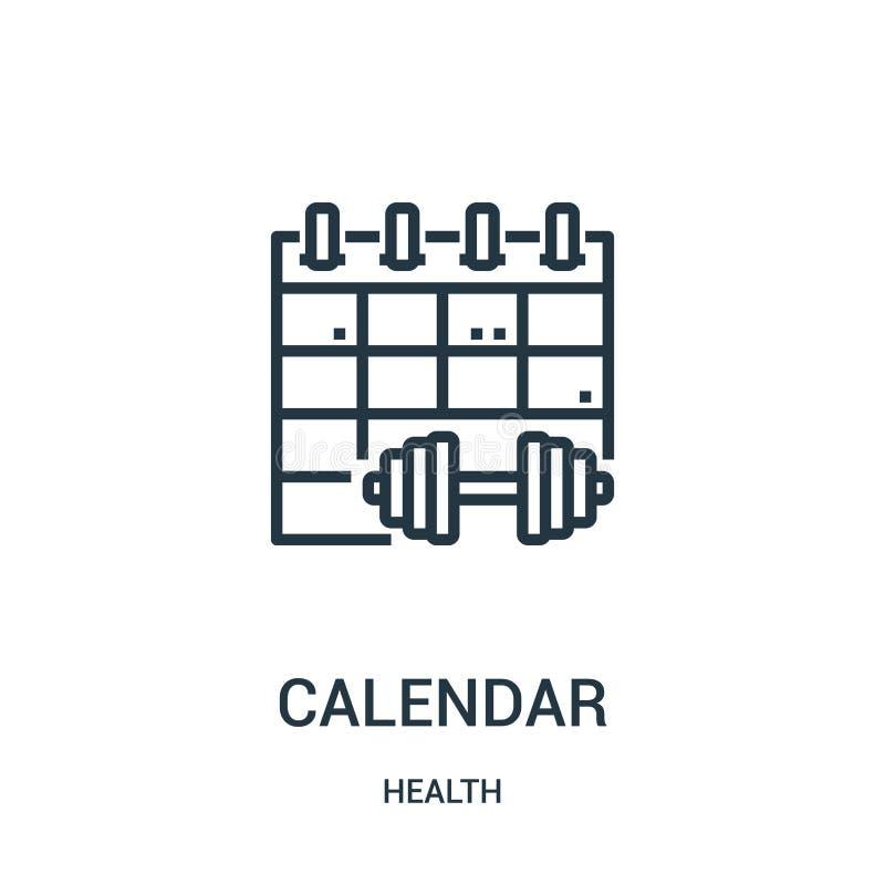 вектор значка календаря от собрания здоровья Тонкая линия иллюстрация вектора значка плана календаря Линейный символ для пользы н бесплатная иллюстрация