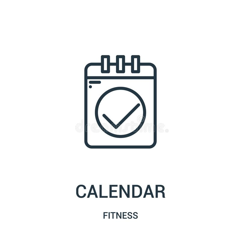 вектор значка календаря от собрания фитнеса Тонкая линия иллюстрация вектора значка плана календаря Линейный символ для пользы на иллюстрация штока