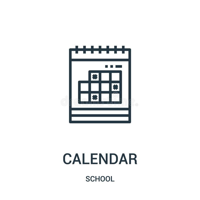 вектор значка календаря от собрания школы Тонкая линия иллюстрация вектора значка плана календаря Линейный символ для пользы на с иллюстрация вектора