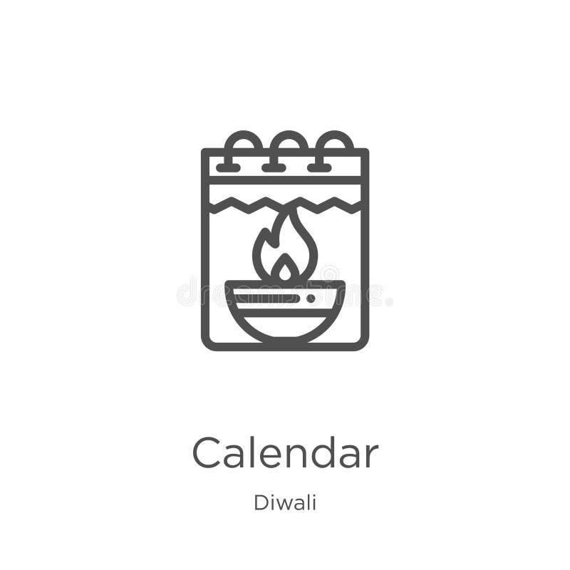 вектор значка календаря от собрания diwali Тонкая линия иллюстрация вектора значка плана календаря План, тонкая линия значок кале иллюстрация штока