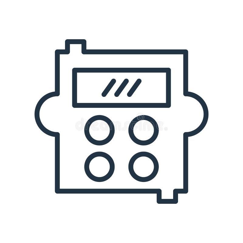 Вектор значка калькулятора изолированный на белой предпосылке, знаке калькулятора, линии символе или линейном дизайне элемента в  иллюстрация штока