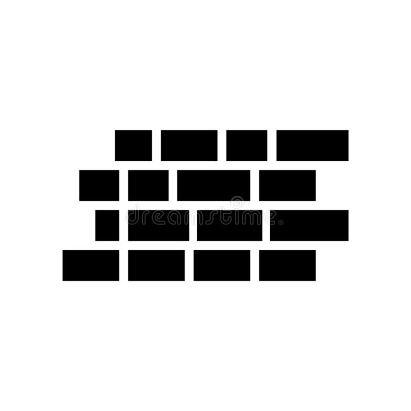 Вектор значка кирпичной стены изолированный на белой предпосылке, знаке кирпичной стены, символах конструкции иллюстрация штока