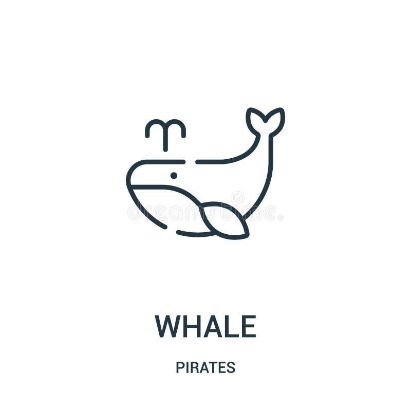 вектор значка кита от собрания пиратов Тонкая линия иллюстрация вектора значка плана кита Линейный символ для пользы на сети и бесплатная иллюстрация