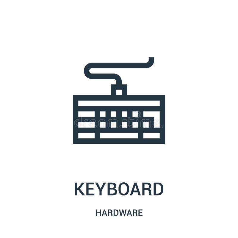 вектор значка клавиатуры от собрания оборудования Тонкая линия иллюстрация вектора значка плана клавиатуры иллюстрация вектора