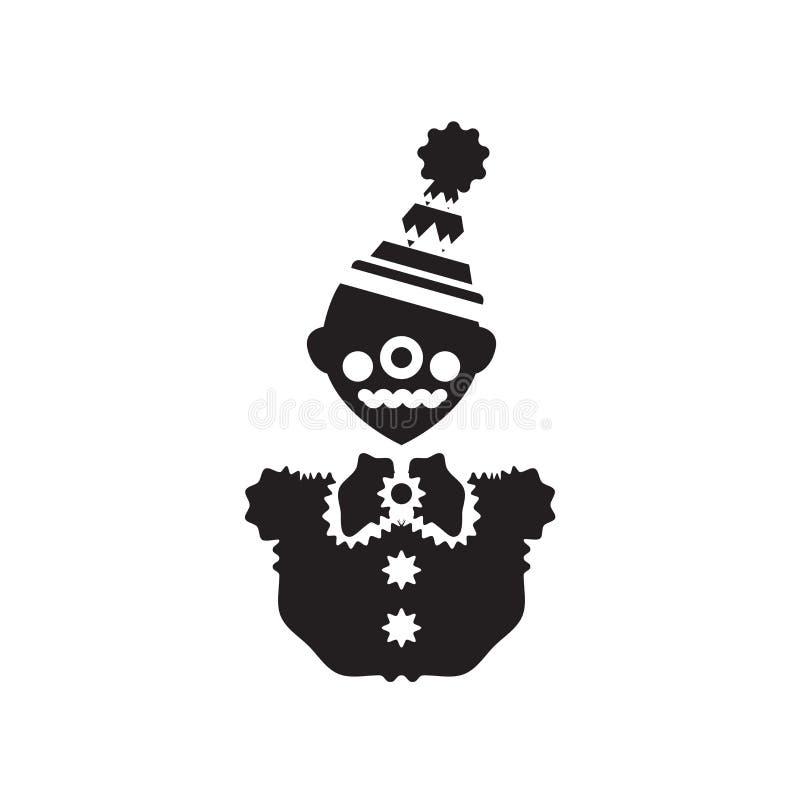 Вектор значка клоуна изолированный на белой предпосылке, знаке клоуна, cel иллюстрация штока