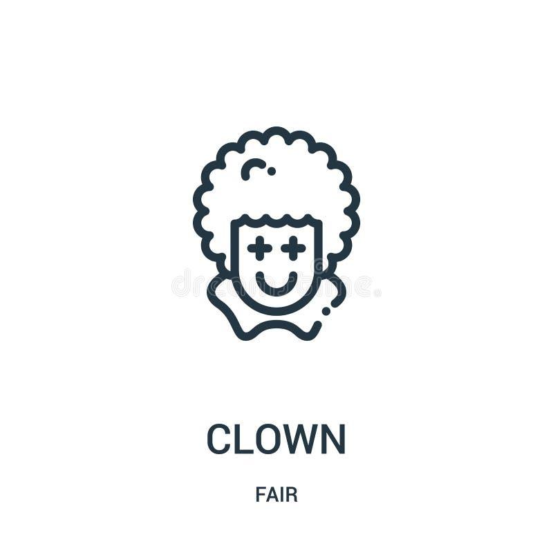 вектор значка клоуна от справедливого собрания Тонкая линия иллюстрация вектора значка плана клоуна Линейный символ для пользы на иллюстрация штока