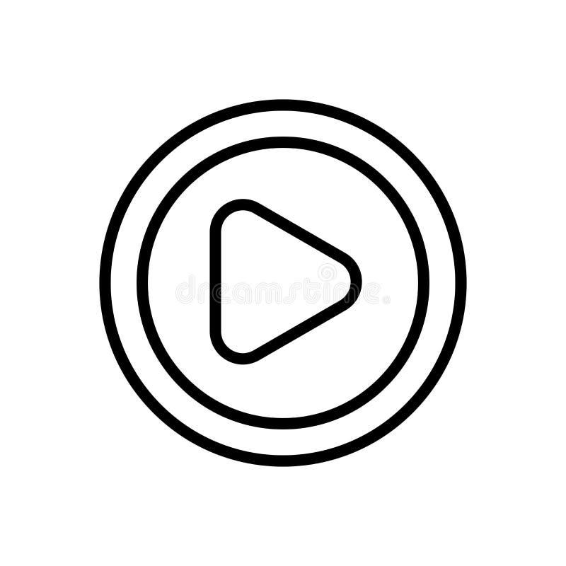 Вектор значка кнопки игры изолированный на белом знаке предпосылки, кнопки игры, линии и элементах плана в линейном стиле иллюстрация штока