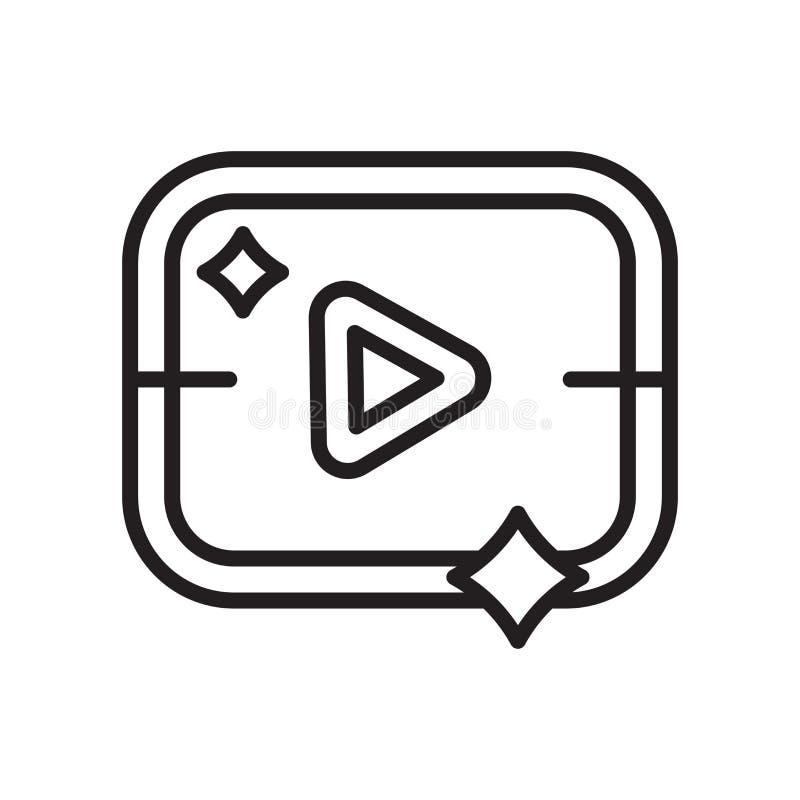 Вектор значка кнопки игры изолированный на белый знак предпосылке, кнопке игры, линия или линейные символ и дизайн знака в стиле  иллюстрация вектора