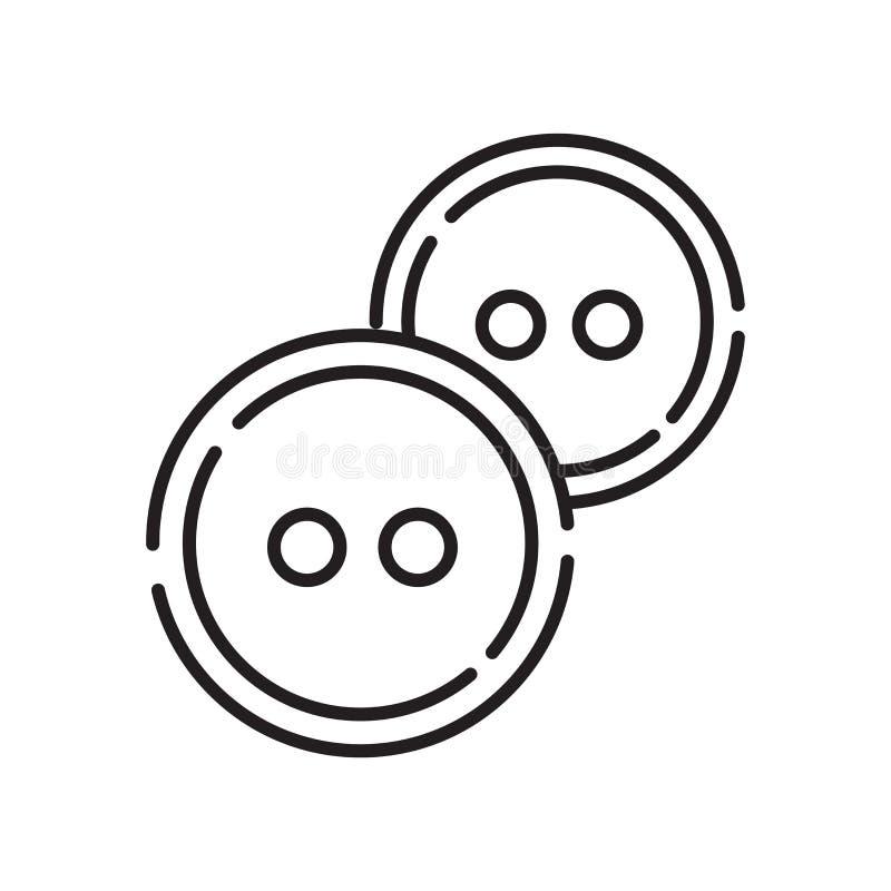 Вектор значка кнопок изолированный на белой предпосылке, застегивает знак, знак и символы в тонком линейном стиле плана иллюстрация вектора
