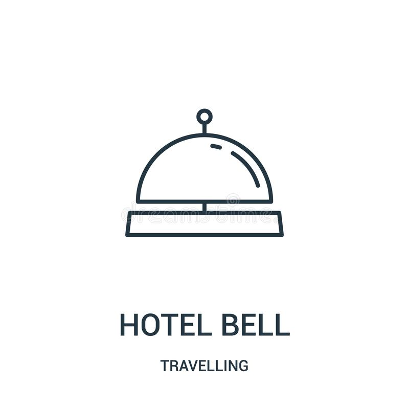 вектор значка колокола гостиницы от путешествовать собрание Тонкая линия иллюстрация вектора значка плана колокола гостиницы r бесплатная иллюстрация