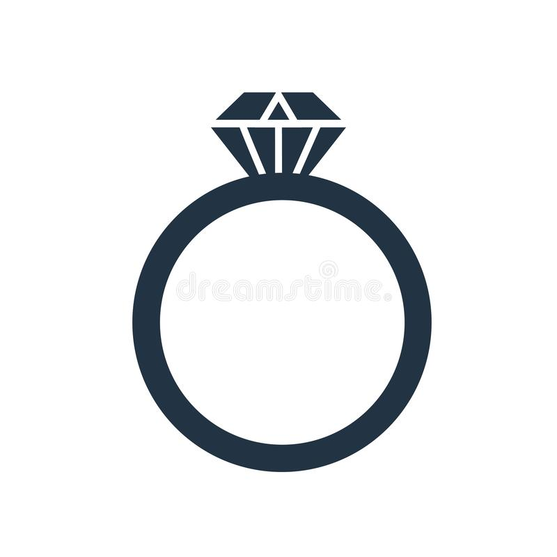 Вектор значка кольца изолированный на белой предпосылке, знаке кольца бесплатная иллюстрация