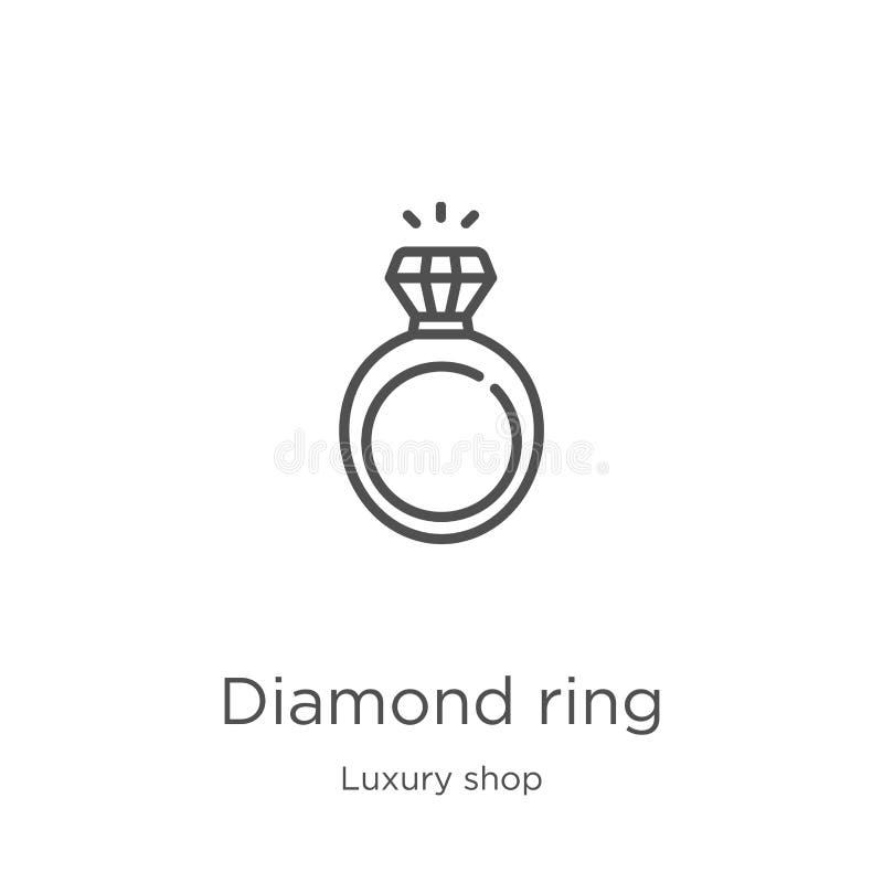 вектор значка кольца с бриллиантом от роскошного собрания магазина Тонкая линия иллюстрация вектора значка плана кольца с бриллиа иллюстрация штока