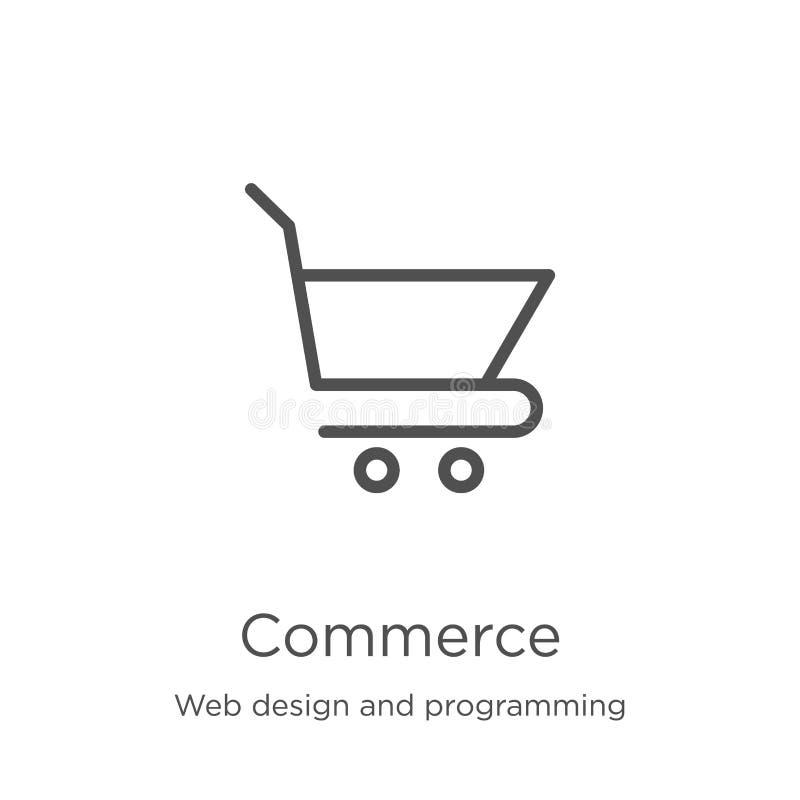 вектор значка коммерции от веб-дизайна и программируя собрания Тонкая линия иллюстрация вектора значка плана коммерции r иллюстрация вектора