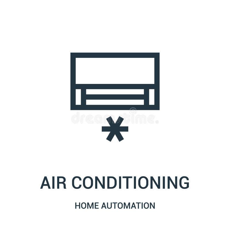 вектор значка кондиционирования воздуха от собрания домашней автоматизации Тонкая линия иллюстрация вектора значка плана кондицио иллюстрация вектора