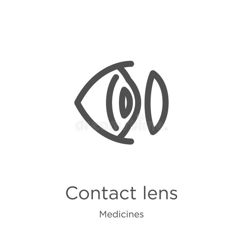 вектор значка контактных линзов от собрания медицин Тонкая линия иллюстрация вектора значка плана контактных линзов План, тонкая  иллюстрация штока