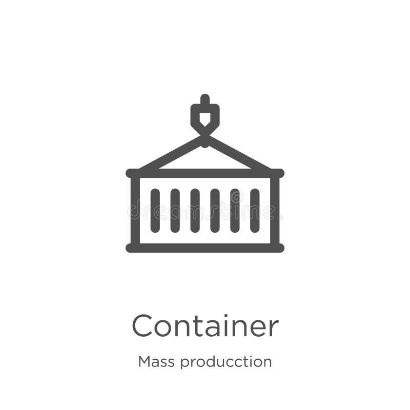 вектор значка контейнера от массового собрания producction Тонкая линия иллюстрация вектора значка плана контейнера План, тонкая  иллюстрация вектора