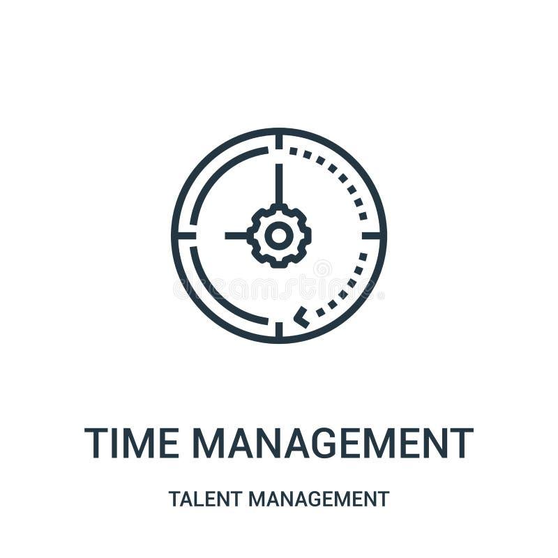 вектор значка контроля времени от собрания управления таланта Тонкая линия иллюстрация вектора значка плана контроля времени иллюстрация штока