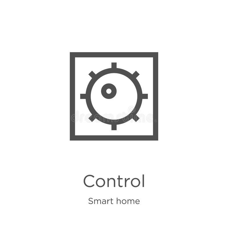 вектор значка контроля от умного домашнего собрания Тонкая иллюстрация вектора значка плана оперативного контроля План, тонкий оп иллюстрация штока