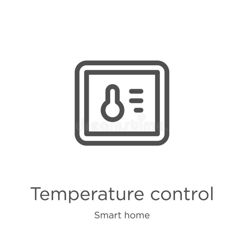 вектор значка контроля температуры от умного домашнего собрания Тонкая линия иллюстрация вектора значка плана контроля температур иллюстрация штока