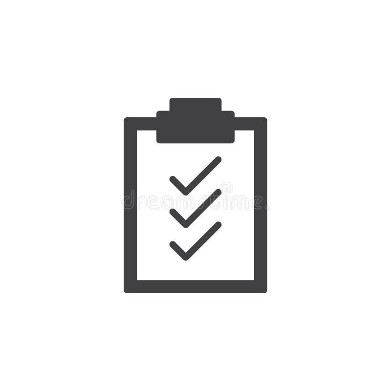 Вектор значка контрольных пометок доски сзажимом для бумаги, заполненный плоский знак, твердая пиктограмма изолированная на белиз иллюстрация штока