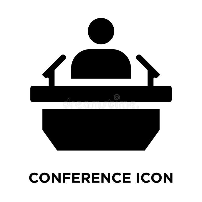 Вектор значка конференции изолированный на белой предпосылке, concep логотипа иллюстрация штока