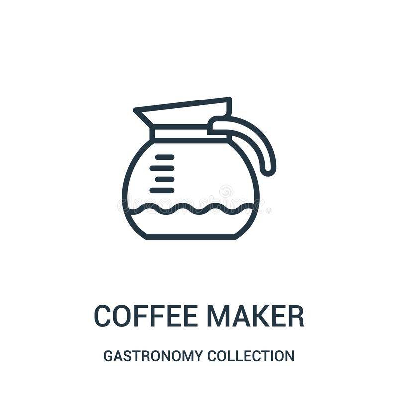 вектор значка кофеварки от собрания собрания гастрономии Тонкая линия иллюстрация вектора значка плана кофеварки бесплатная иллюстрация