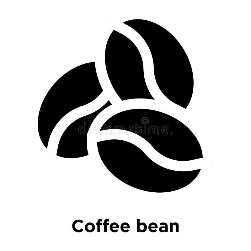 Вектор значка кофейного зерна изолированный на белой предпосылке, conce логотипа иллюстрация вектора