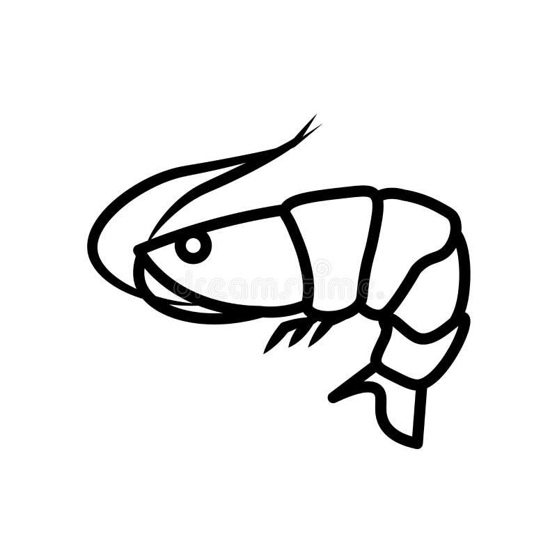 Вектор значка креветки изолированный на белой предпосылке, знаке креветки, линии или линейном знаке, дизайне элемента в стиле пла иллюстрация штока
