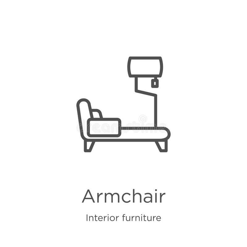 вектор значка кресла от внутреннего собрания мебели Тонкая линия иллюстрация вектора значка плана кресла План, тонкая линия бесплатная иллюстрация
