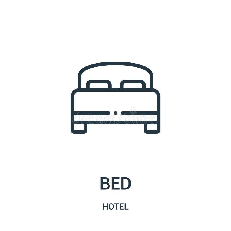 вектор значка кровати от собрания гостиницы Тонкая линия иллюстрация вектора значка плана кровати иллюстрация вектора