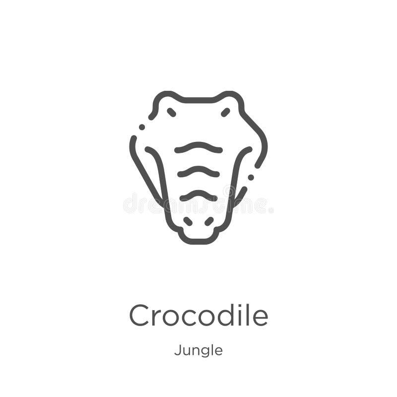 вектор значка крокодила от собрания джунглей Тонкая линия иллюстрация вектора значка плана крокодила План, тонкая линия крокодил иллюстрация штока