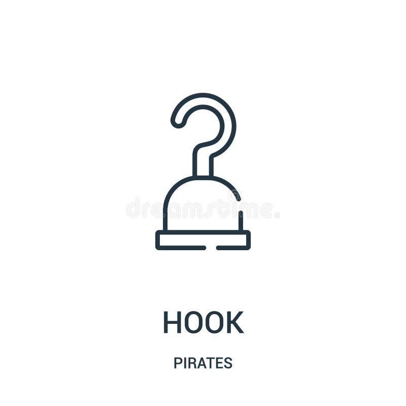 вектор значка крюка от собрания пиратов Тонкая линия иллюстрация вектора значка плана крюка Линейный символ для пользы на сети и  иллюстрация штока