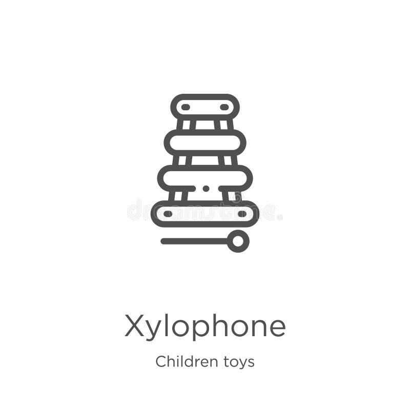 вектор значка ксилофона от собрания игрушек детей Тонкая линия иллюстрация вектора значка плана ксилофона План, тонкая линия бесплатная иллюстрация