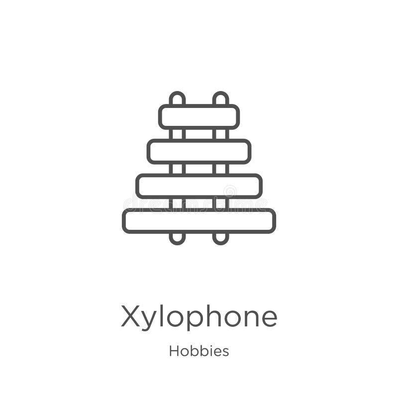 вектор значка ксилофона от собрания хобби Тонкая линия иллюстрация вектора значка плана ксилофона План, тонкая линия ксилофон иллюстрация вектора