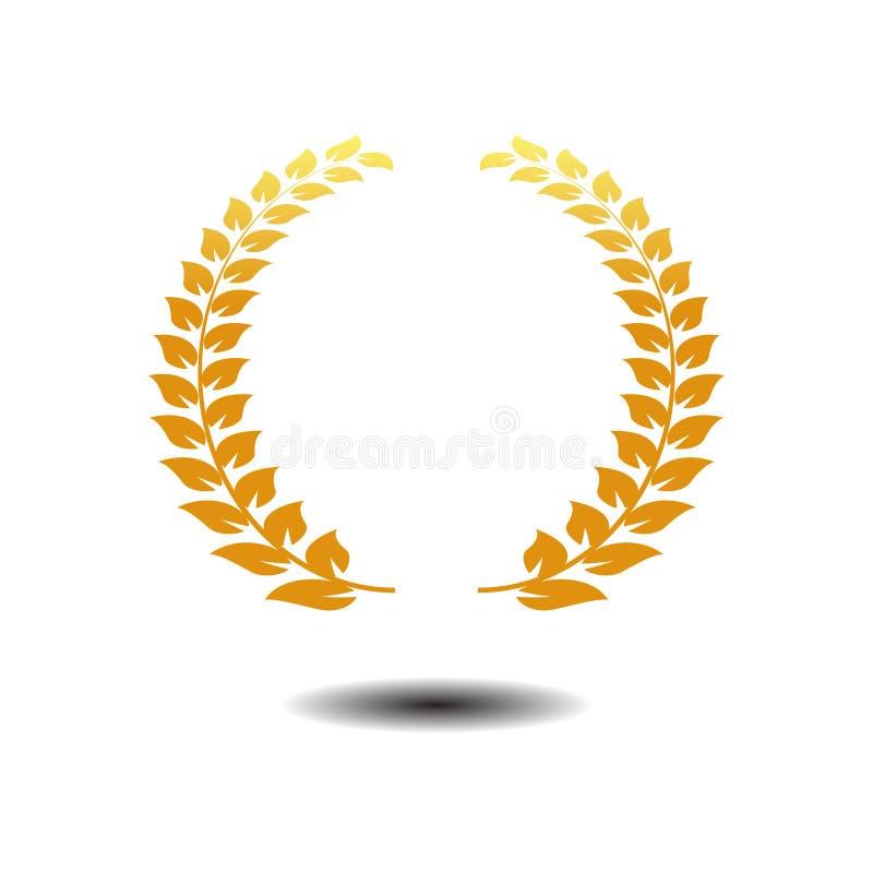 Вектор значка лаврового венка Значок символа золота на белой предпосылке иллюстрация штока